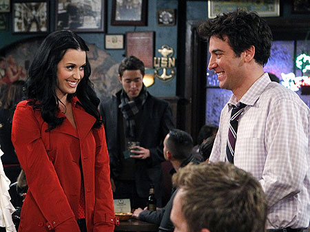 Katy Perry and Josh Radnor filming How I Met Your Mother .