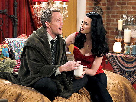 Neil Patrick Harris and Katy Perry on the set of How I Met Your Mother .