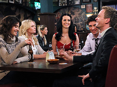 Cobie Smulders , Jennifer Morrison , Katy Perry , Josh Radnor , and Neil Patrick Harris shoot a scene from How I Met Your Mother…