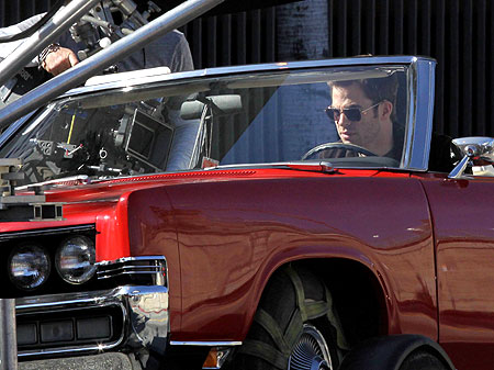 Chris Pine filming driving scenes for Welcome to People .