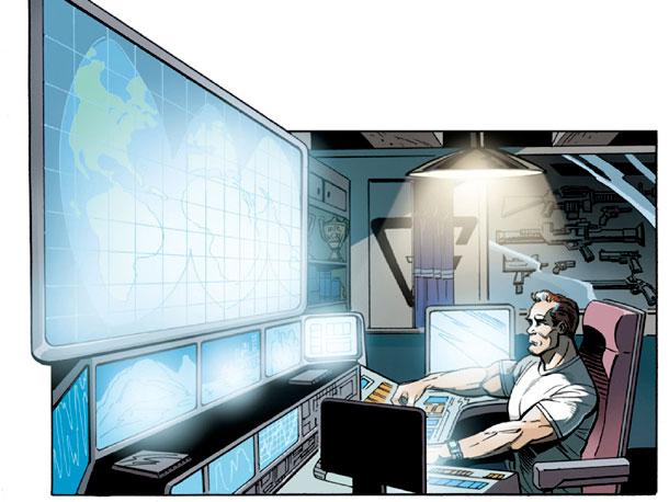 The Governator's study/communications center