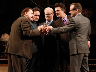 TEAM OF RIVALS Brian Cox, Jason Patric, Jim Gaffigan, Chris Noth, and Kiefer Sutherland light up the stage in That Championship Season