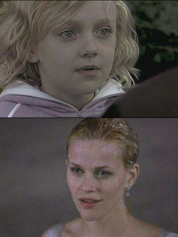 Dakota Fanning, Reese Witherspoon, ...   Kewpie doll cuteness made Fanning a perfect choice to play young Melanie (Witherspoon) before she forgot her Southern roots.