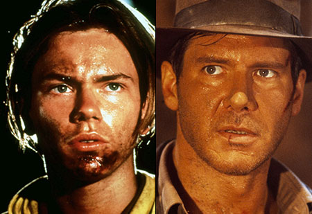 Harrison Ford, River Phoenix, ...   Before he met with his untimely real-life passing, Phoenix was a young Indy and showed us how our adventurous professor (Ford) got his scar.