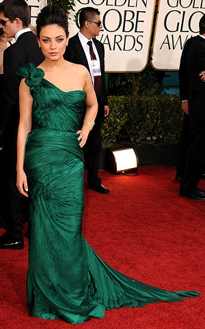 Golden Globe Awards 2011, Mila Kunis | The Black Swan actress opted for old Hollywood-level glamour with this one-shoulder Vera Wang gown in a rich emerald hue. ''That was something where, when…