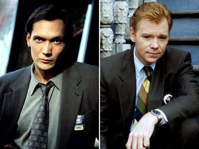 NYPD Blue, David Caruso, ... | David Caruso : 1 season (1993-94) Jimmy Smits : 4 seasons (1994-98) Caruso left after multiple contract disputes, so his cop John Kelly was transferred.…