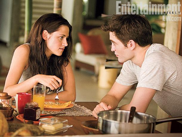 Kristen Stewart, Robert Pattinson | Bella enjoys ''morning-after'' eggs courtesy of new husband Edward on Isle Esme. ''I like the honeymoon scenes,'' Robert Pattinson says, ''because it's such a massive…