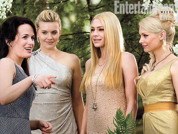 Elizabeth Reaser | Esme (Elizabeth Reaser) greets members of the Denali (from left, Maggie Grace, Casey LaBow and MyAnna Buring) at Bella and Edward's wedding.