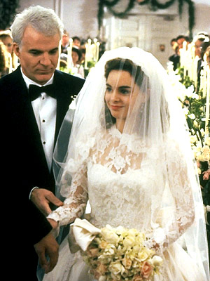 Father of the Bride, Kimberly Williams-Paisley, ... | Long lace sleeves might not be all the rage these days, but there was something sweetly demure about Annie's (Kimberly Williams-Paisley) traditional dress. But our…