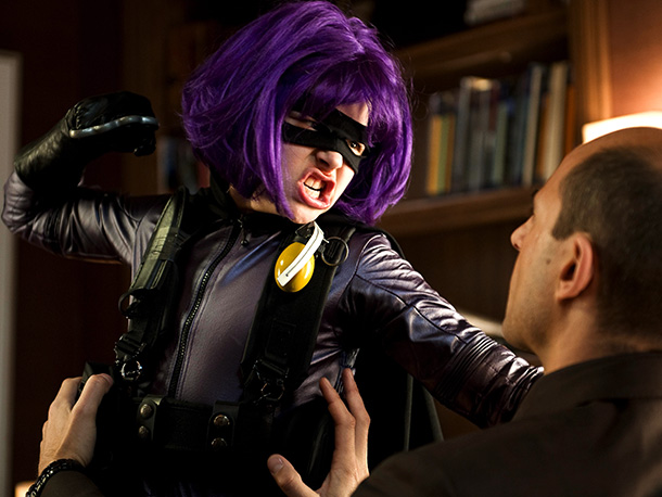 Chloe Grace Moretz | Purple-haired, foulmouthed, a great lover of firepower but also well schooled in swinging double-bladed swords, Hit Girl clearly does not play well with others.
