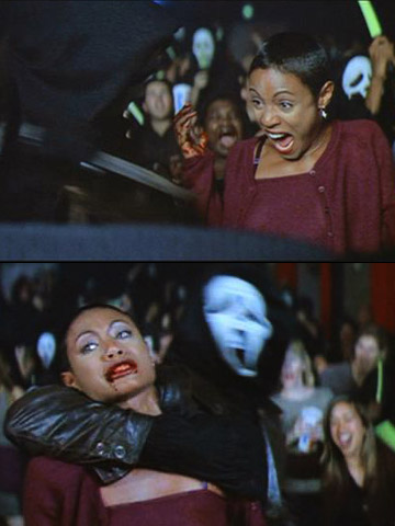Jada Pinkett Smith, Scream 2 | Maureen, a self-admitted EW fan, and boyfriend Phil just wanted a fun night out at the movies. Unfortunately, Ghostface murdered Phil in the men's room…