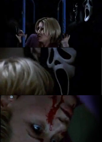 Jenny McCarthy, Scream 3 | Supposedly meeting director Roman at the production office, Sarah Darling instead found Ghostface, who stabbed her and threw her through a glass partition.