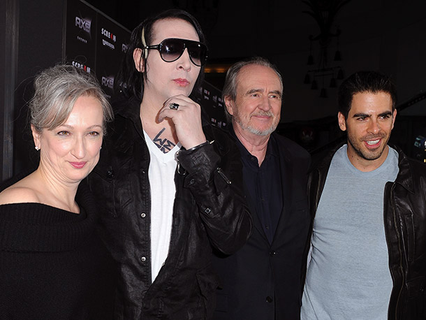 Scream 4 producer Iya Labunka with Marilyn Manson, Wes Craven, and Eli Roth
