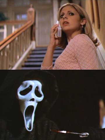 Scream 2, Sarah Michelle Gellar | Cici was the sober sister at her sorority, so she had to stay home and wait for a drunk sister to call. Ghostface ended up…