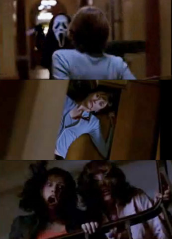 Emily Mortimer, Scream 3 | Angelina freaked out at movie producer John Milton's mansion and ran once people started disappearing. Sadly, she ran right into Ghostface's knife.