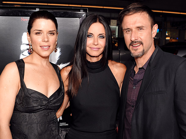 Neve Campbell, Courteney Cox, and David Arquette