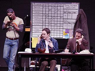 Jim Parsons, Patrick Breen, ... | THE NORMAL HEART Luke Macfarlane (Grady), Jim Parsons (Tommy Boathouse) and Patrick Breen (Mickey Marcus)