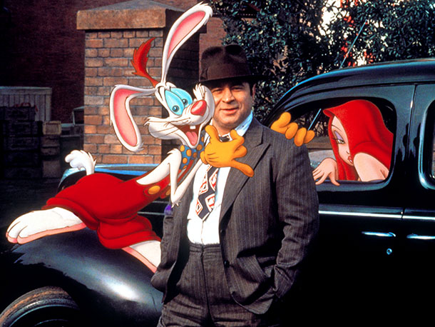Who Framed Roger Rabbit | Bob Hoskins, a human, is a 1940s detective on the job, investigating a murder. Roger Rabbit (inimitably voiced by Charles Fleischer), an animated character, is…