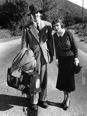 All kinds meet and mingle on the road — in this case, a streetwise reporter (Clark Gable) and a runaway heiress (Claudette Colbert), who knows…