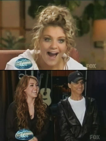 American Idol | ...until Miley herself showed up the next week. But, surprisingly, the moment was hardly awkward. Instead, Miley simply told Lauren, ''I listen to your music…