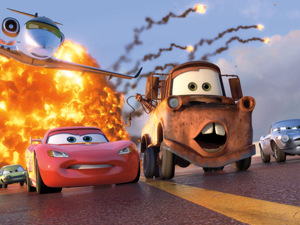 Lightning McQueen (voiced by Owen Wilson) and Mater (voiced by Larry the Cable Guy)