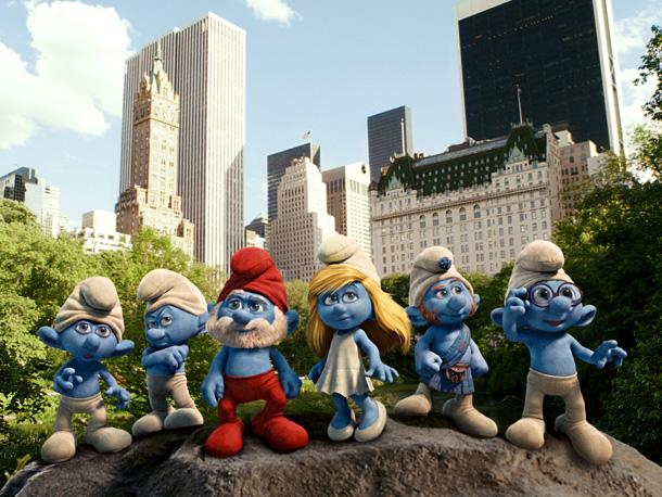 Clumsy, Grouchy, Papa, Smurfette, Gutsy, and Brainy Smurf
