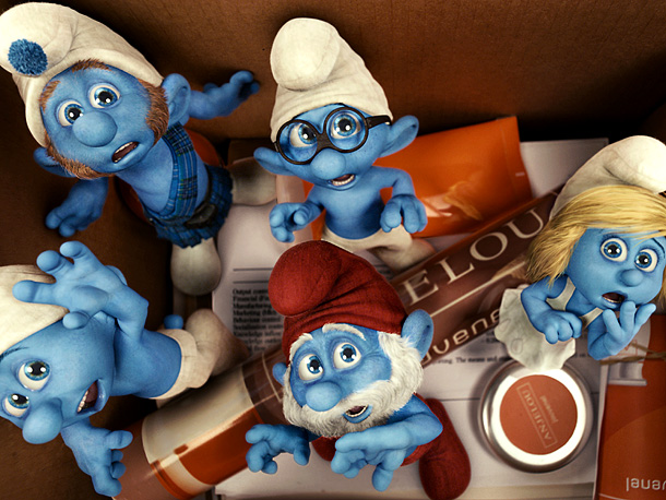 Grouchy, Gutsy, Brainy, Papa, and Smurfette Smurf