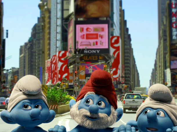 Grouchy, Papa, and Clumsy Smurf
