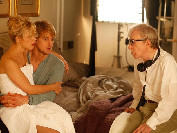 Rachel McAdams, Owen Wilson, and Woody Allen