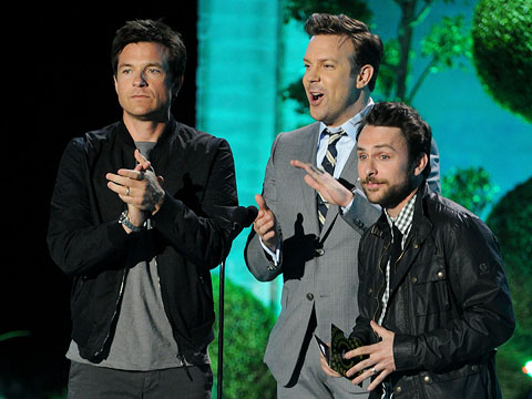 Jason Sudeikis, MTV Movie Awards 2011 | On stage with his Horrible Bosses costars Jason Bateman and Charlie Day, Sudeikis — who's rumored to be the father of ex-girlfriend January Jones' upcoming…