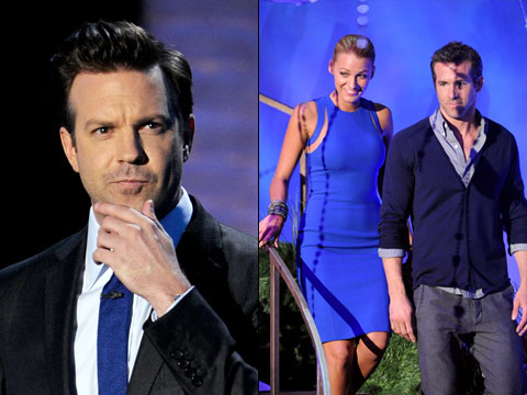 MTV Movie Awards 2011, Jason Sudeikis | ''Ryan Reynolds and someone that we believe is the real Blake Lively though she won't confirm it.'' Bet he had to avoid her backstage afterwards.