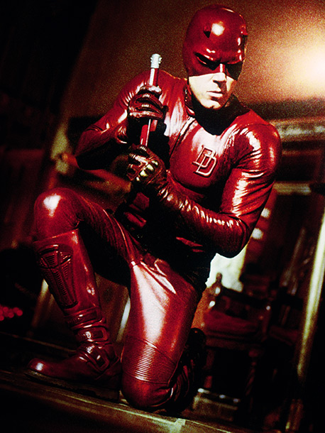 Daredevil, Ben Affleck | Connie: With the overlapping ''DD'' insignia, this looks like a varsity-leather bodysuit gone horrible wrong. He looks like a member of the Village People. Darren:…