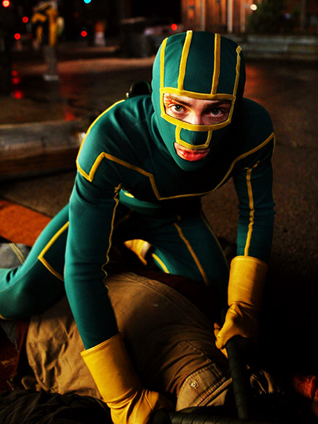 Kick-Ass, Aaron Johnson | Connie: Listen, this costume was intended to be bad, so I guess you could say they did a good job. He looks like Gumby! Did…