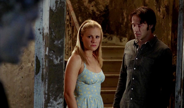 True Blood, Anna Paquin, ... | In the season 3 finale, vampire Eric (Alexander Skarsgard) made Bill confess to Sookie — who can't read vampire minds — that he let her…