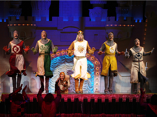 Spamalot   How do you make Monty Python and the Holy Grail even funnier? Take the film's clopping coconuts, horseless knights, killer rabbits, and unforgettable lines (''Just…