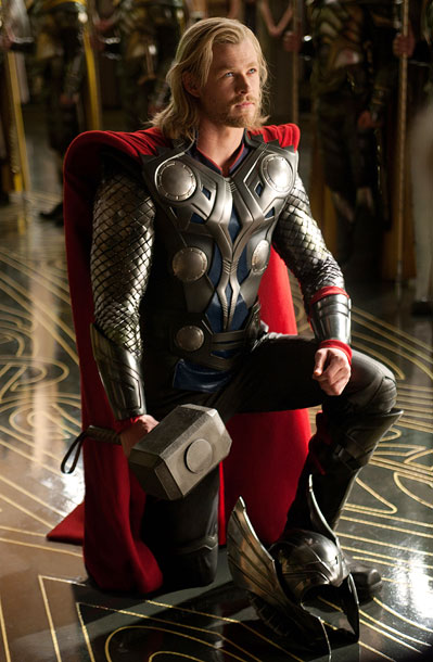 Thor, Chris Hemsworth | The chain-mail sleeves scream ''power.'' The metallic breastplate proclaims ''confidence.'' The cape is red... so red.