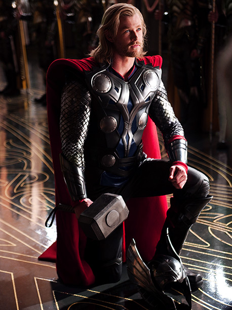 Thor, Chris Hemsworth | Connie: What's with the circle things? Is that Nordic? There's no good reason why I like this costume, other than maybe the man filling the…