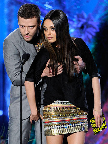 Mila Kunis, Justin Timberlake, ... | And the award goes to Friends With Benefits costars Justin Timberlake and Mila Kunis for grabbing each others' special parts. We get it, guys: Your…