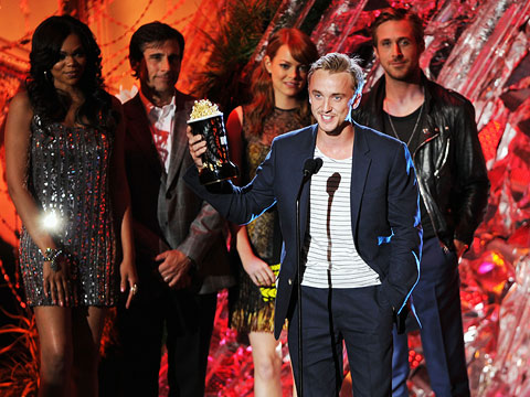 Tom Felton, MTV Movie Awards 2011 | This goes to the Best Villain winner Tom Felton from Harry Potter and the Deathly Hallows, Part 1 , who said: ''This will look very…