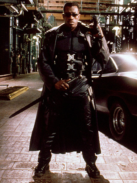 Blade, Wesley Snipes | Extremely influential, Blade's battle wear helped to define a generation of superhero outfits. Hooray for black leather!