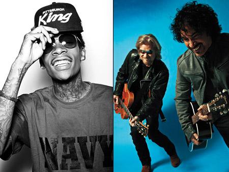 Seattle Wiz Khalifa (above left), Hall & Oates (above left), and Broken Social Scene Sept. 3-5