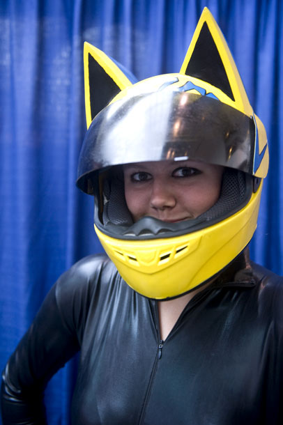 Tawni Galleisky dressed as Celty from the anime series Durarara!!