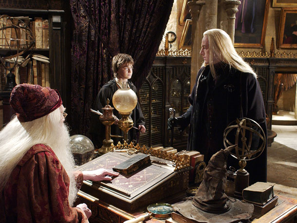 Jason Isaacs, Daniel Radcliffe, ...   ''I remember the very first take of the very first scene that I did; as I minced out of Dumbledore's office, Chris Columbus shouted, 'Shut…