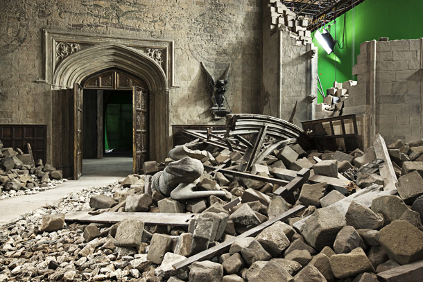 Harry Potter | Hogwarts is practically demolished in the eighth film's climactic battle, but razing the school for that sequence was more an act of construction than destruction.…