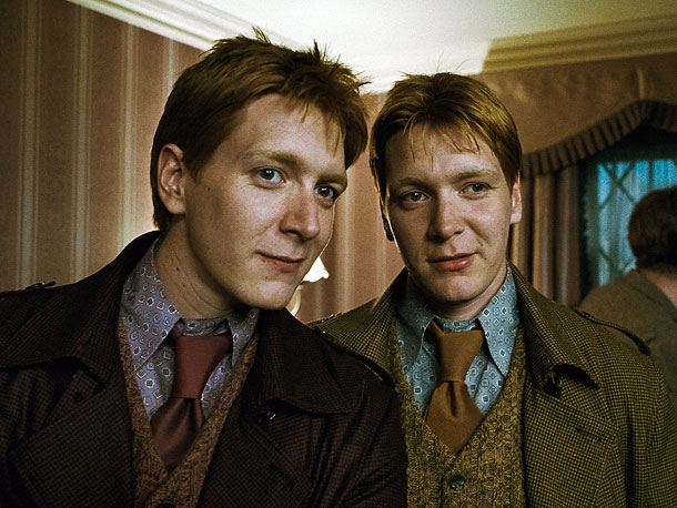 Harry Potter and the Deathly Hallows - Part 1   ''[My twin brother Oliver and I] actually didn't find out who was going to play Fred Weasley and who was going to play George Weasley…