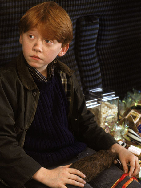 Rupert Grint, Harry Potter and the Sorcerer's Stone   ''The first thing I shot was the very last scene of the first film, when we're all on the train and leaving Hogwarts and going…