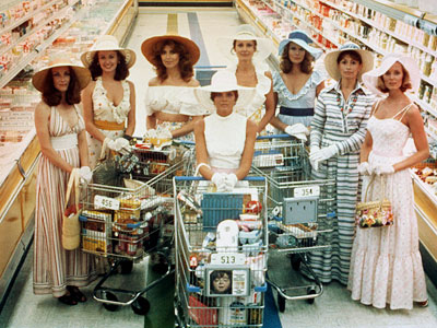The Stepford Wives (Movie - 1975) | 14. THE STEPFORD WIVES FROM The Stepford Wives (1975) PLAYED BY Paula Prentiss, Tina Louise, Nanette Newman, and others PROGRAMMING In this feminist nightmare, suburban…