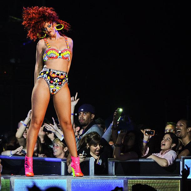 Rihanna   On Rihanna 's nightly set list? A cover of Prince's Purple Rain classic ''Darling Nikki.'' (Now through July 24)