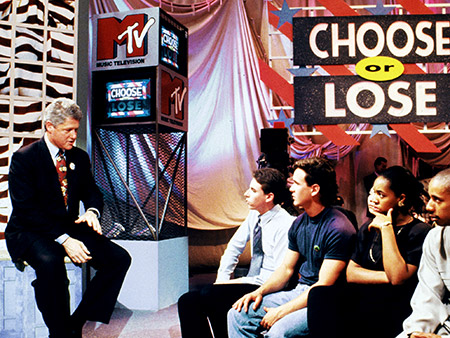 JUNE 16, 1992 A smiling Bill Clinton took the stage live before 200 students at MTV's high-tech town meeting held in Hollywood. Not only did…