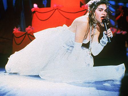 SEPT. 14, 1984 Dolled up in a white-lace bustier, a ''Boy Toy'' belt, and a flouncy tutu, Madonna performed ''Like a Virgin'' at the first…